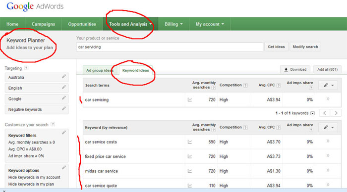 Inside the Google Keyword Planner.