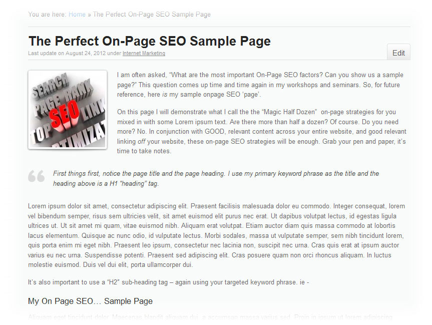 Here is my own 'On Page SEO sample' page. Click through to view it.