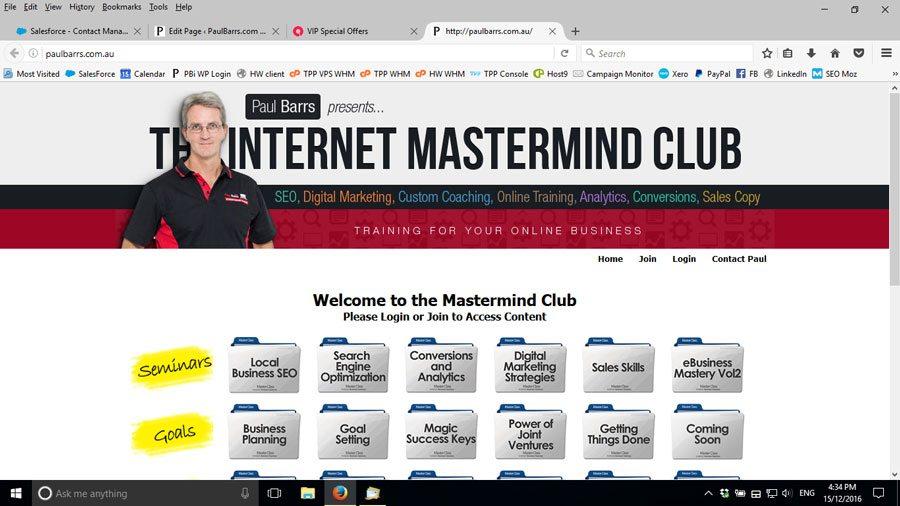"""Screenshot of PaulBarrs.com.au, """"The Mastermind Club"""""""